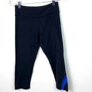 Lululemon Capri Leggings Black Blue Mesh Stripe